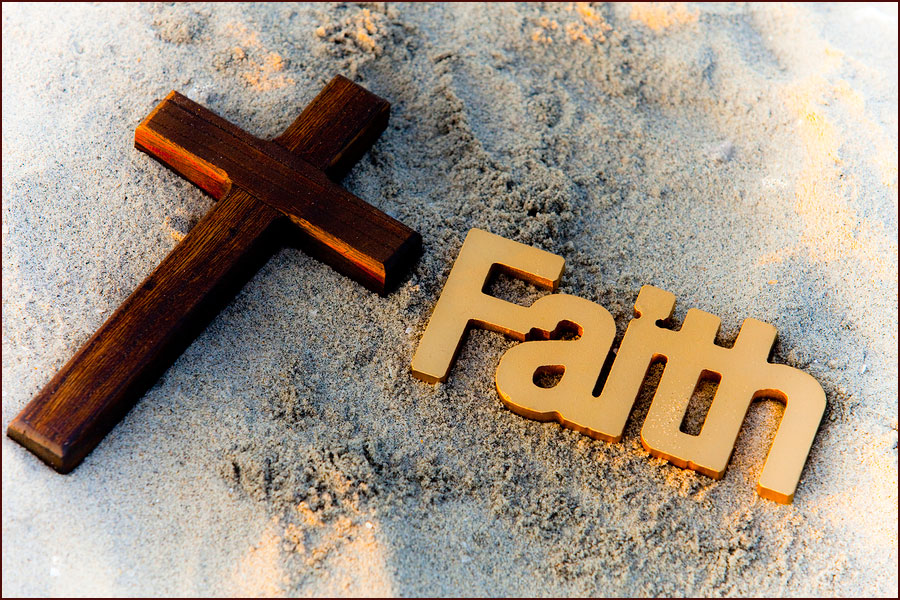 Picture of  the Word Faith with a Cross